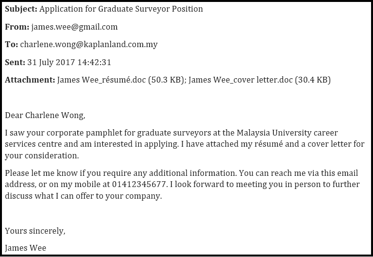 Whenever You Send A Résumé, A Cover Letter Should Always Be Attached. from gradmalaysia.com